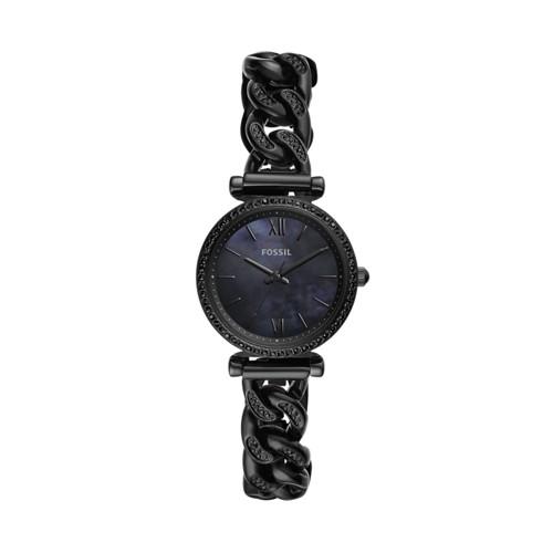 Carlie Mini Three-Hand Black Stainless Steel Watch ES4690