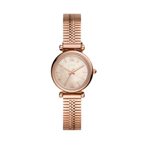 Carlie Mini Three-Hand Rose Gold-Tone Stainless Steel Watch ES4697