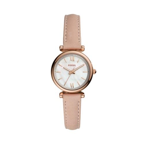 Fossil Carlie Mini Three-Hand Blush Leather Watch  jewelry