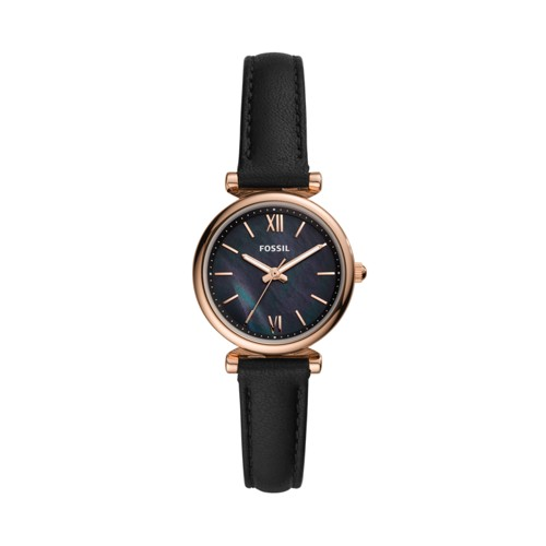 Fossil Carlie Mini Three-Hand Black Leather Watch  jewelry