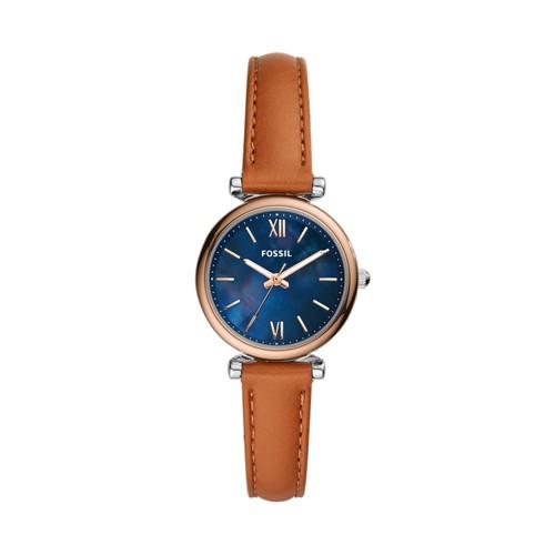 Carlie Mini Three-Hand Tan Leather Watch ES4701