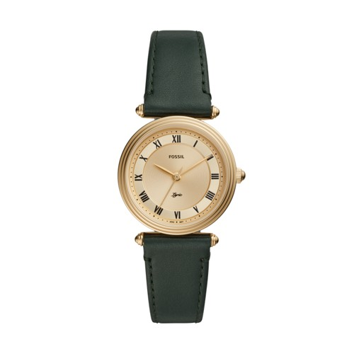 Fossil Lyric Three-Hand Dark Green Leather Watch  jewelry
