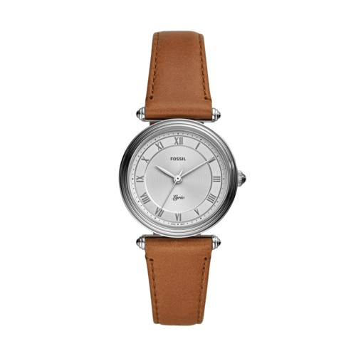 Fossil Lyric Three-Hand Brown Leather Watch  jewelry