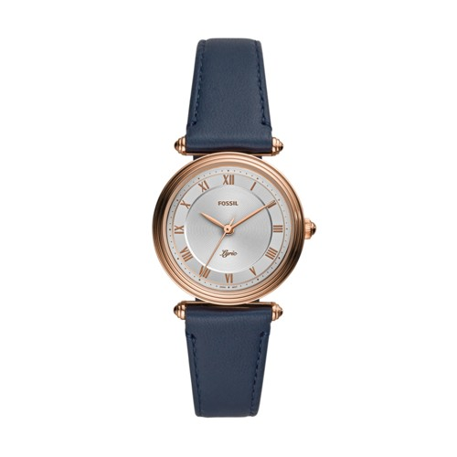 Fossil Lyric Three-Hand Navy Leather Watch  jewelry