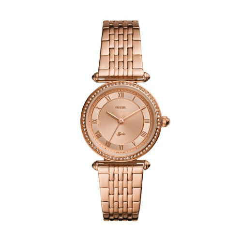 fossil Lyric Three-Hand Rose Gold-Tone Stainless Steel Watch ES4711