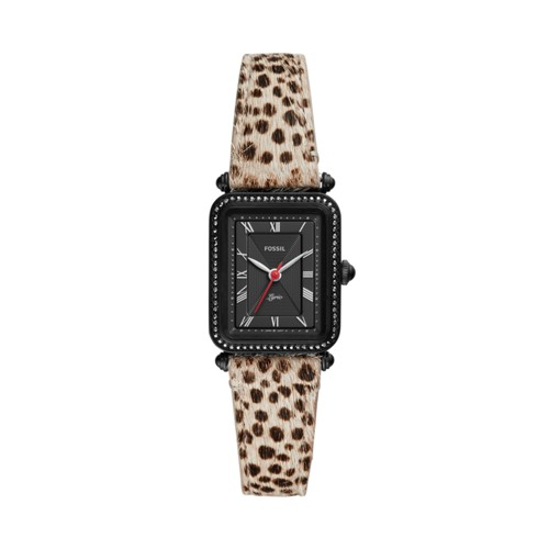 Lyric Three-Hand Faux Cheetah Hair Leather Watch ES4719