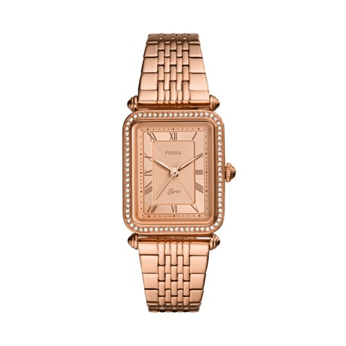 fossil Lyric Three-Hand Rose Gold-Tone Stainless Steel Watch ES4720