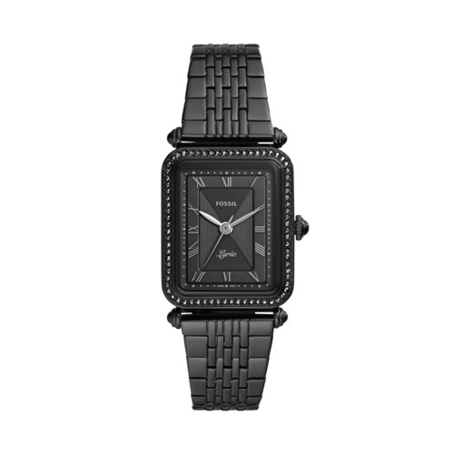 Lyric Three-Hand Black Stainless Steel Watch ES4722
