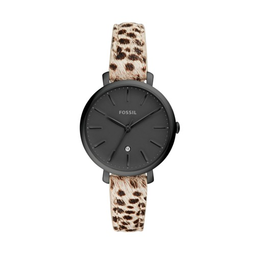 Jacqueline Three-Hand Faux Cheetah Hair Leather Watch ES4725