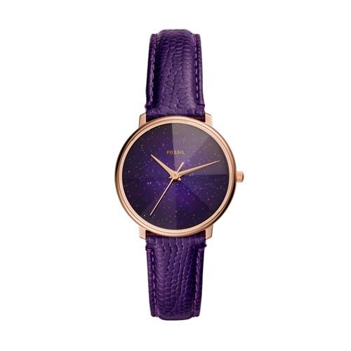 Prismatic Galaxy Three-Hand Purple Leather Watch ES4727