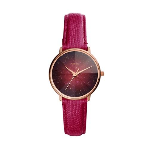 Prismatic Galaxy Three-Hand Fuschia Leather Watch ES4731
