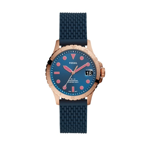 Fossil Fb-01 Three-Hand Date Navy Silicone Watch  jewelry