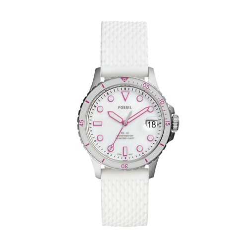 fossil FB-01 Three-Hand Date White Silicone Watch ES4747