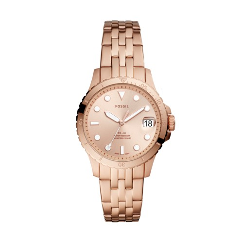 fossil FB-01 Three-Hand Date Rose Gold-Tone Stainless Steel Watch ES4748