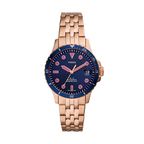 FB-01 Three-Hand Date Rose Gold-Tone Stainless Steel Watch ES4767