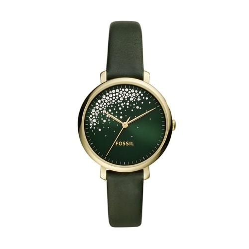 Jacqueline Three-Hand Dark Green Leather Watch ES4771