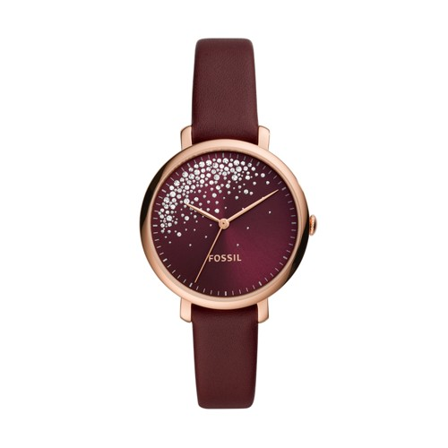 Fossil Jacqueline Three-Hand Burgundy Leather Watch  jewelry