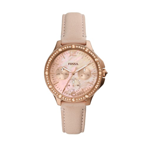 Finley Multifunction Blush Leather Watch ES4790