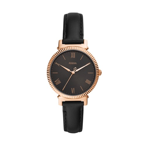 Daisy Three-Hand Black Leather Watch ES4793