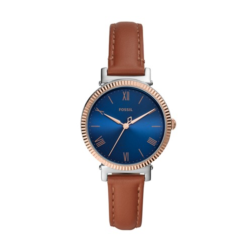 Fossil Daisy Three-Hand Tan Leather Watch  jewelry