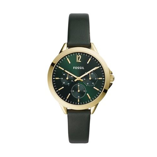 Alyssa Multifunction Dark Green Leather Watch ES4797