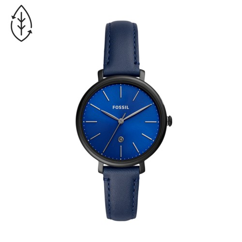 Fossil Jacqueline Three-Hand Blue Leather Watch  jewelry