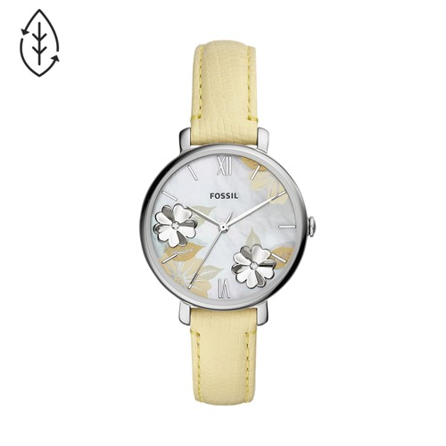 Jacqueline Three-Hand Lemon Leather Watch ES4812