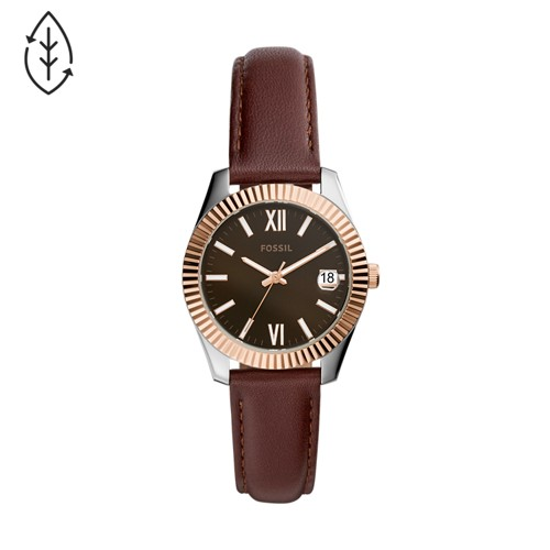 Scarlette Mini Three-Hand Brown Leather Watch ES4822