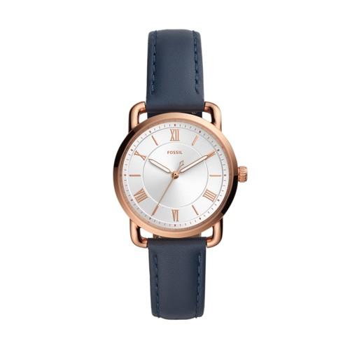 Fossil Copeland Three-Hand Midnight Navy Leather Watch  jewelry