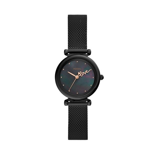 Carlie Mini Three-Hand Black Stainless Steel Watch ES4829