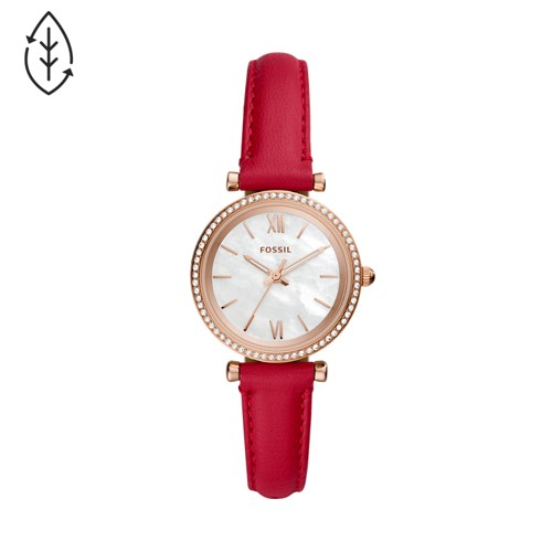 Fossil Carlie Mini Three-Hand Red Leather Watch  jewelry