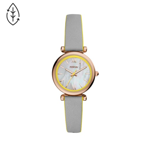 Fossil Carlie Mini Three-Hand Gray Leather Watch  jewelry