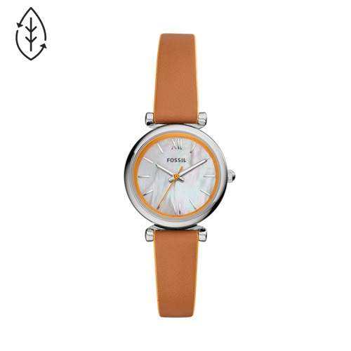 Carlie Mini Three-Hand Brown Leather Watch ES4835