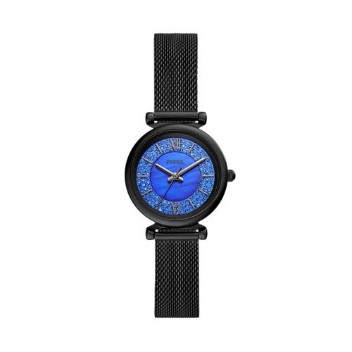 Carlie Mini Three-Hand Black Stainless Steel Watch ES4838