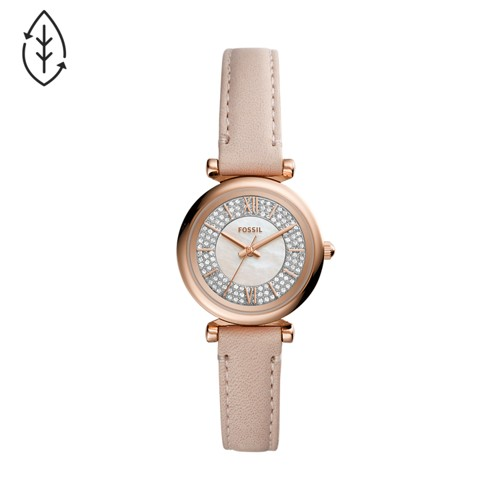 Fossil Carlie Mini Three-Hand Nude Leather Watch  jewelry