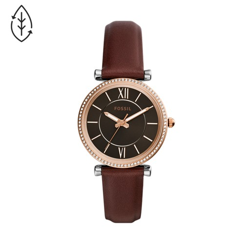 Carlie Three-Hand Brown Leather Watch ES4861