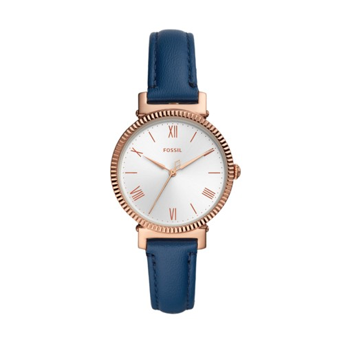 Fossil Daisy Three-Hand Midnight Navy Leather Watch  jewelry