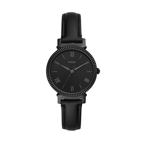 Fossil Daisy Three-Hand Black Leather Watch  jewelry