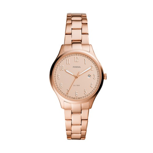 Lady Forrester Three-Hand Date Rose Gold-Tone Stainless Steel Watch ES4870