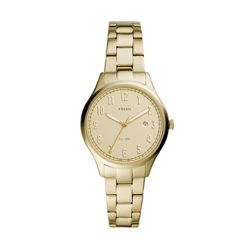 Lady Forrester Three-Hand Date Gold-Tone Stainless Steel Watch ES4871