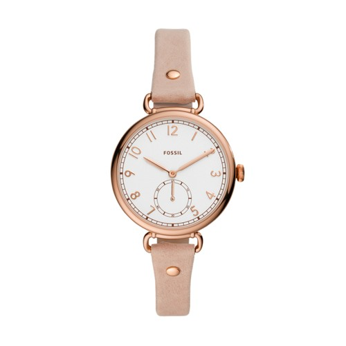 Josey Three-Hand Blush Leather Watch ES4882