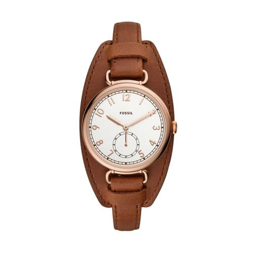Fossil Josey Three-Hand Brown Leather Watch  jewelry