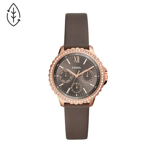 Izzy Multifunction Gray Leather Watch ES4889