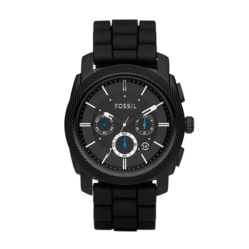 fossil Machine Chronograph Black Silicone Watch FS4487