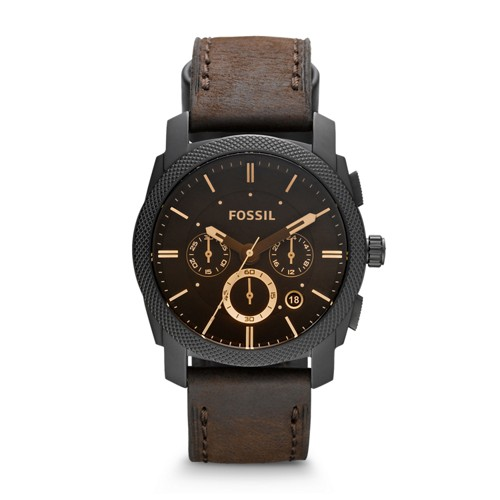 fossil Machine Mid-Size Chronograph Brown Leather Watch FS4656