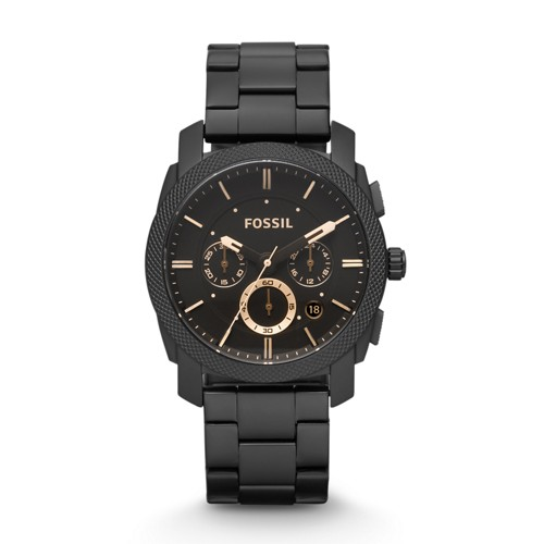 fossil Machine Mid-Size Chronograph Black Stainless Steel Watch FS4682