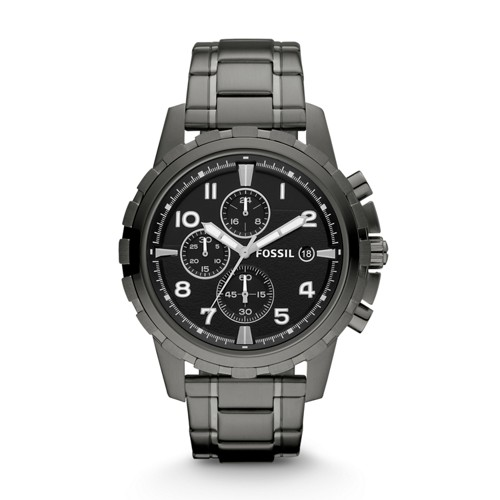 fossil Dean Chronograph Smoke Stainless Steel Watch FS4721