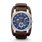Machine Chronograph Leather Watch Espresso Blue, Elegant Men's Dress Watches Fossil Discount FS4793