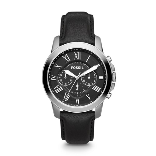 fossil Grant Chronograph Black Leather Watch FS4812IE