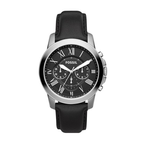 fossil Grant Chronograph Black Leather Watch FS4812